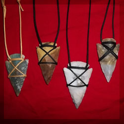 arrowhead necklaces hand knapped from Agate gemstone, real arrowhead, fully functional for archery.